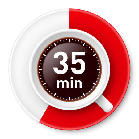 limit: Cup of coffee with time limit for break: thirty-five minutes. Illustration on white background.