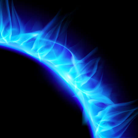 partial: Partial view of blazing solar corona in blue. Illustration on black background.