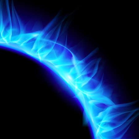 partial: Vista parcial de la ardiente corona solar en azul. Ilustraci�n sobre fondo negro.