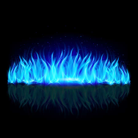 devilish: Wall of blue fire with weak reflection on black background.