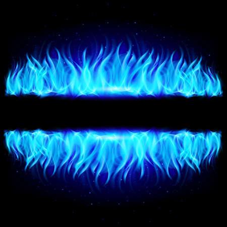 reflejo en espejo: Dos paredes de fuego en la reflexi�n de espejo con espacio en blanco entre ellos. Ilustraci�n sobre fondo negro.