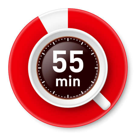 Cup of coffee with time limit for break: fifty-five minutes. Illustration on white background.