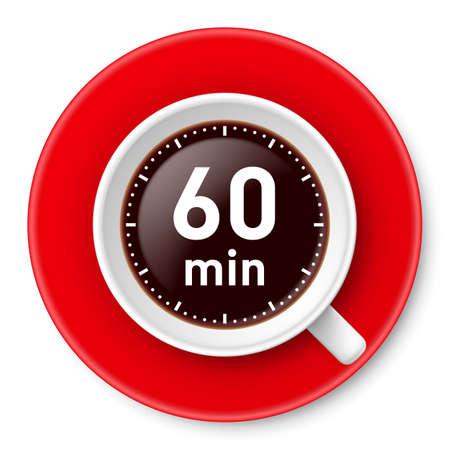 휴식을위한 시간 제한과 함께 커피 한잔 : 한 시간입니다. 흰색 배경에 그림입니다. 일러스트