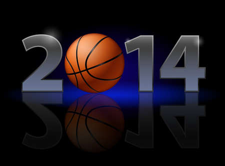 New Year 2014: metal numerals with basketball instead of zero having weak reflection. Illustration on black background. Vector