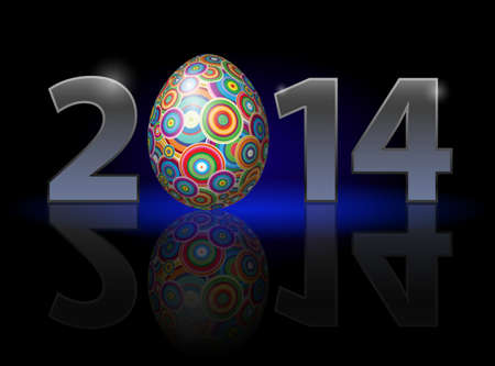 Easter holiday in 2014: metal numerals with colorful egg instead of zero having weak reflection. Illustration on black background. Vector