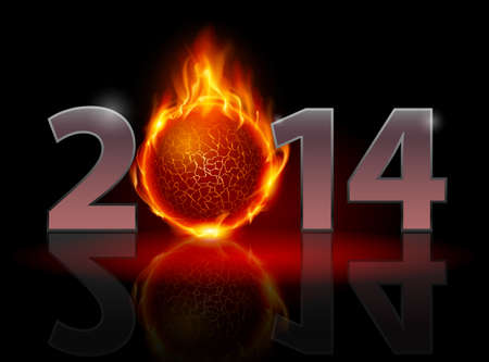New Year 2014: metal numerals with fire ball instead of zero having weak reflection. Illustration on black background. Vector