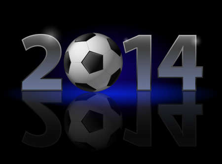 New Year 2014: metal numerals with football instead of zero having weak reflection. Illustration on black background. Vector