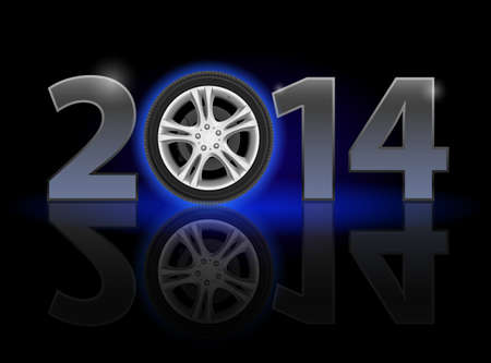 New Year 2014: metal numerals with car wheel instead of zero having weak reflection. Illustration on black background. Vector