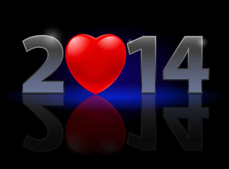 New Year 2014: metal numerals with red heart instead of zero having weak reflection. Illustration on black background. Vector