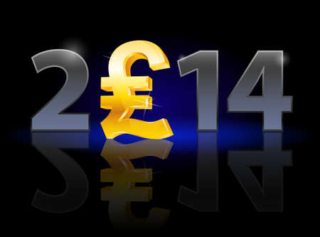 New Year 2014: metal numerals with english pound instead of zero having weak reflection. Illustration on black background. Vector