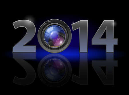 New Year 2014: metal numerals with camera lens instead of zero having weak reflection. Illustration on black background. Vector