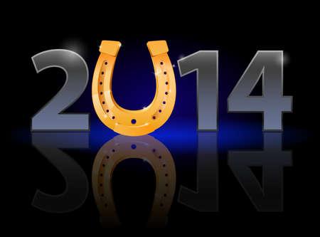 golden horseshoe: New Year 2014: metal numerals with golden horseshoe instead of zero having weak reflection. Illustration on black background.