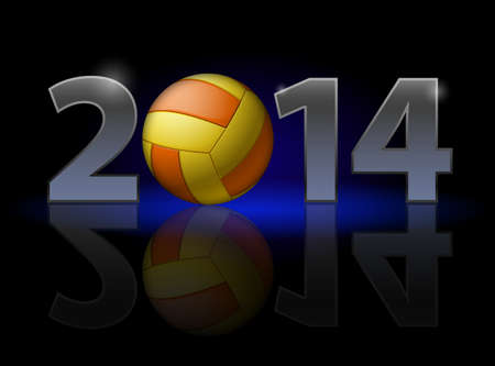 New Year 2014: metal numerals with volleyball instead of zero having weak reflection. Illustration on black background. Vector