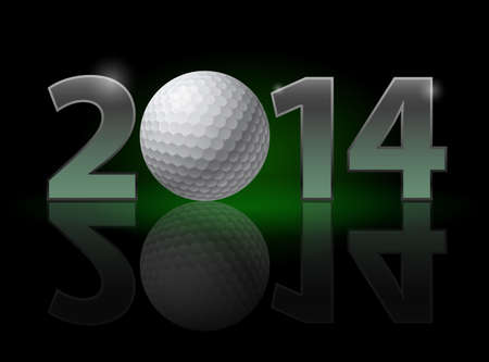 New Year 2014: metal numerals with golf ball instead of zero having weak reflection. Illustration on black background. Stock Illustration - 22084029