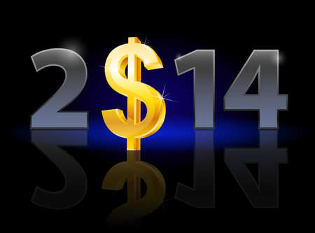 New Year 2014: metal numerals with USA dollar instead of zero having weak reflection. Illustration on black background. Stock Illustration - 22084030