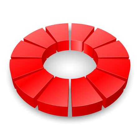 graficas de pastel: Diagrama circular roja sobre fondo blanco.