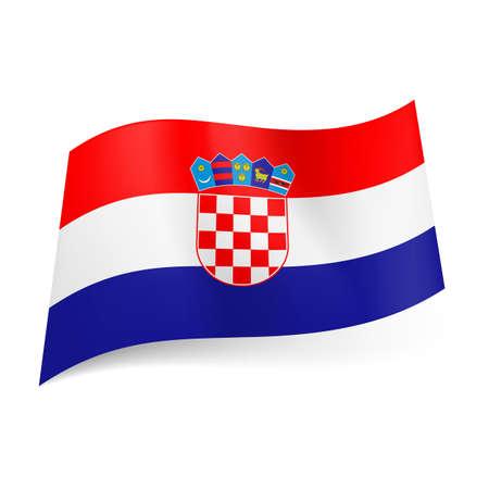bandera de croacia: Bandera nacional de Croacia: rojo, rayas horizontales blancas y azules con el escudo de armas en el centro.