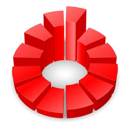 白い背景で隔離の列を持つ赤い円形の図表。