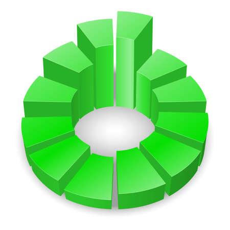 白い背景で隔離の列を持つ緑の円形の図表。