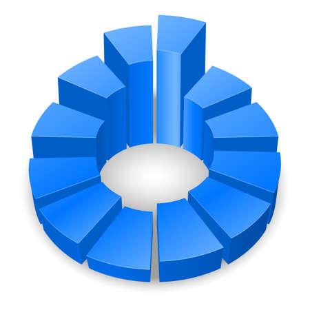 白い背景上に分離されて青い円形の図表。