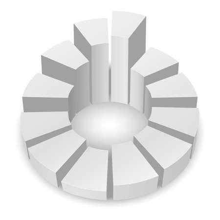 白い背景で隔離の列を持つ白い円形の図表。