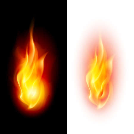 devilish: Two fire flames on contrast black and white backgrounds. Illustration