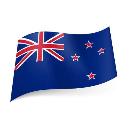 bandera de nueva zelanda: Bandera nacional de Nueva Zelanda: Union Jack y cuatro estrellas rojas en fondo azul. Vectores