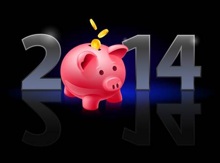 New Year 2014: metal numerals with piggy bank instead of zero having weak reflection. Illustration on black background. Vector