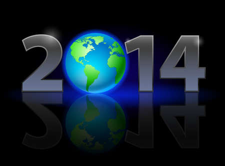terra: New Year 2014: metal numerals with Earth instead of zero having weak reflection. Illustration on black background.