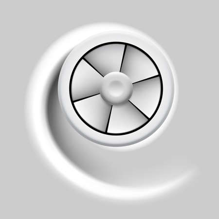 ventilation: Electric fan with motion effect on gray background.