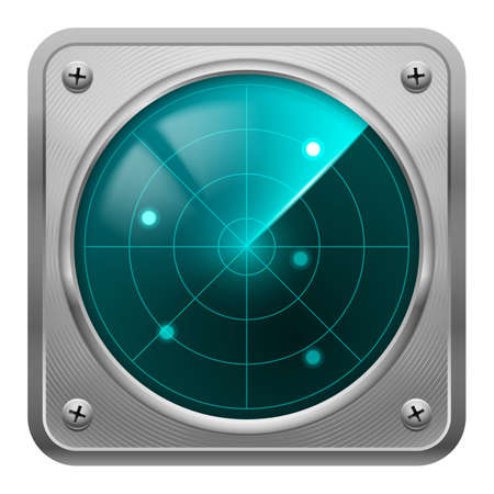 warning indicator: Metal framed radar screen with some objects detected. Tracking system.