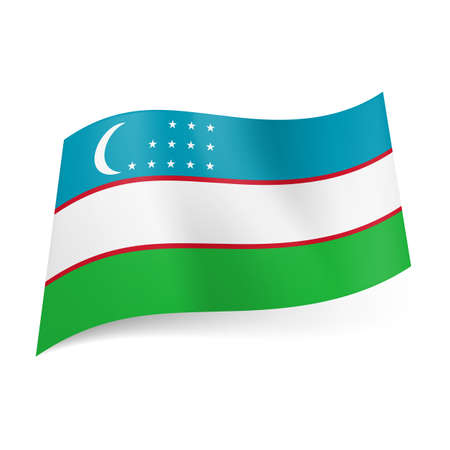 uzbekistan: National flag of Uzbekistan: blue, white and green horizontal stripes with crescent moon and three rows of stars on first band. Illustration