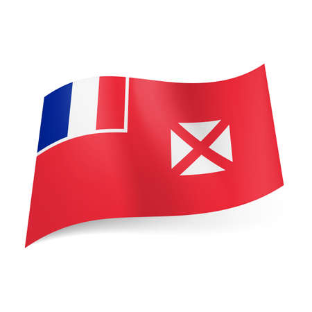 unofficial: Flag of Wallis and Futuna: French flag and white square with diagonal cross on red background.  Illustration