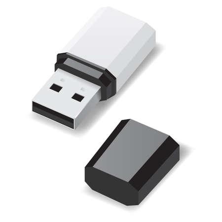 pocket pc: White USB flash drive with black cap isolated on white  Illustration