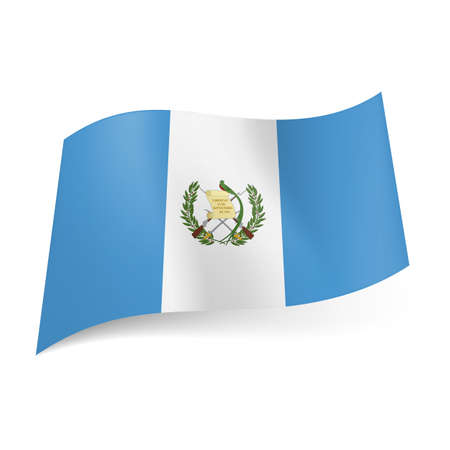 guatemala: National flag of Guatemala  white stripe with coat of arms between blue ones    Illustration