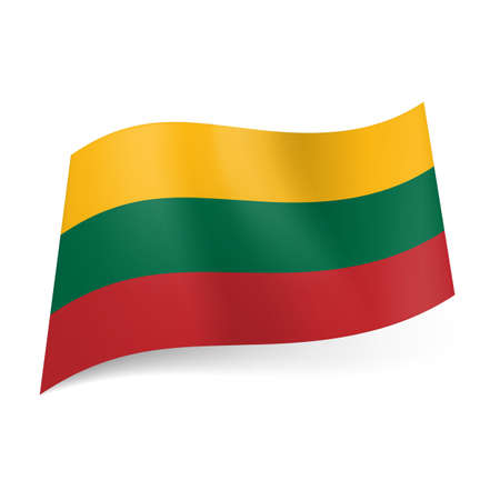 lithuanian: National flag of Lithuania  yellow, green and red horizontal stripes   Illustration