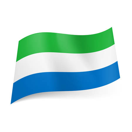 National flag of Sierra Leone  green, white and blue horizontal stripes   Vector