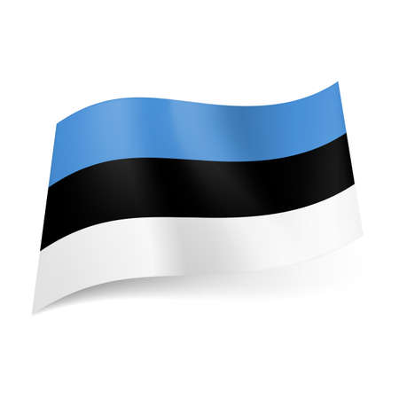 National flag of Estonia: blue, black and white horizontal stripes.  Stock Vector - 22630018