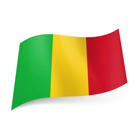 mali: National flag of Mali: green, yellow and red vertical stripes.