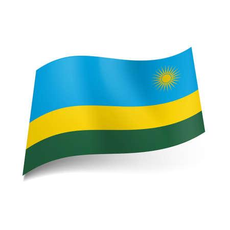 rwanda: National flag of Rwanda: wide blue, narrow yellow and green horizontal stripes with sun on first band.