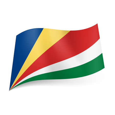 seychelles: National flag of Seychelles: oblique blue, yellow, red, white and green stripes.