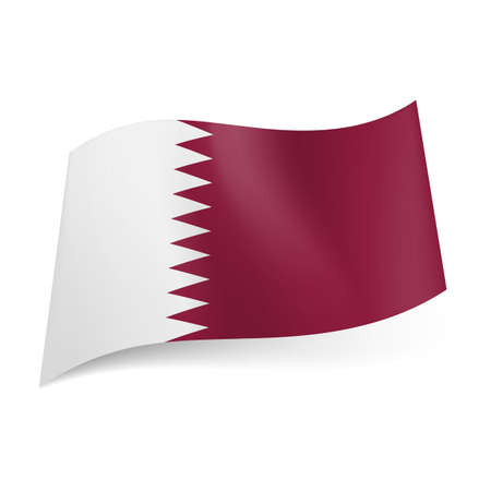 arab flags:  National flag of Qatar: white and maroon bands with serrated pattern.