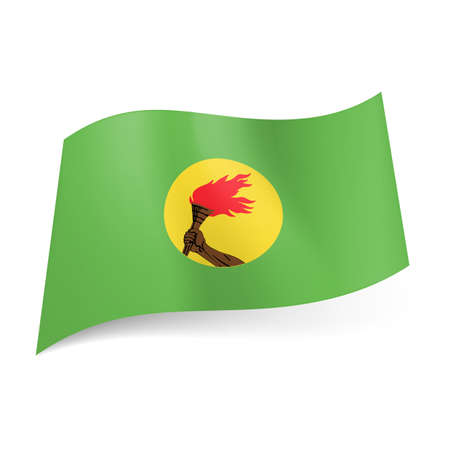 ex: Flag of ex state Zaire: hand holding torch in yellow circle on light green background. Illustration