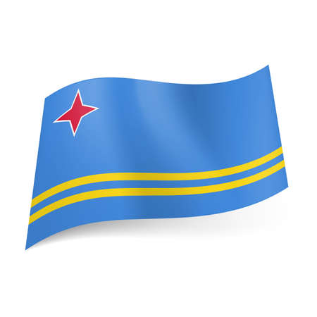 aruba flag: National flag of Aruba: four-pointed red star in upper left corner and two narrow yellow stripes on blue background.