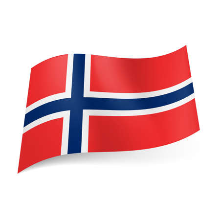 norway flag: National flag of Norway: white bordered blue Scandinavian cross on red background.  Illustration