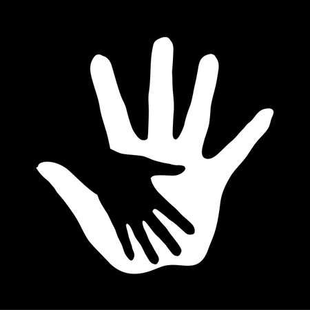 Black-and-white hand in hand illustration as concept of help, assistance and cooperation. Vector