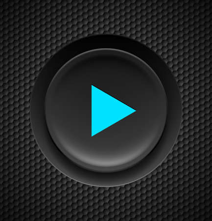 clicker: Black button with blue play sign on carbon background.
