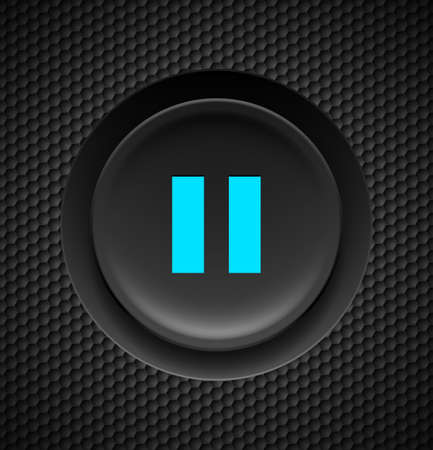 clicker: Black button with blue pause sign on carbon background.