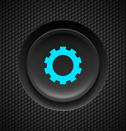 clicker: Black button with blue settings sign on carbon background.