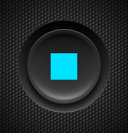 Black button with blue stop sign on carbon background.   Vector